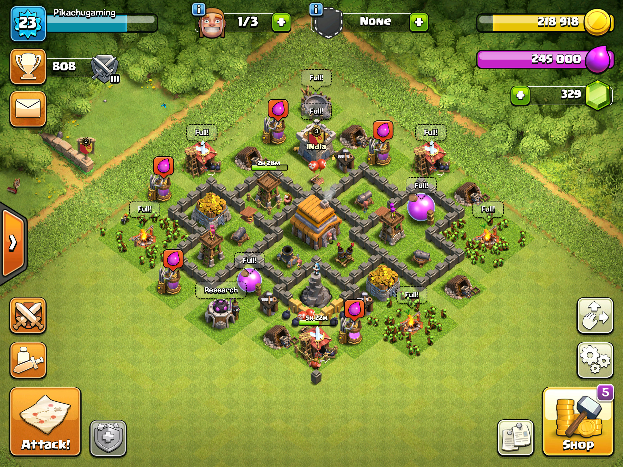 Clash of Clans trophy base for Town Hall 4