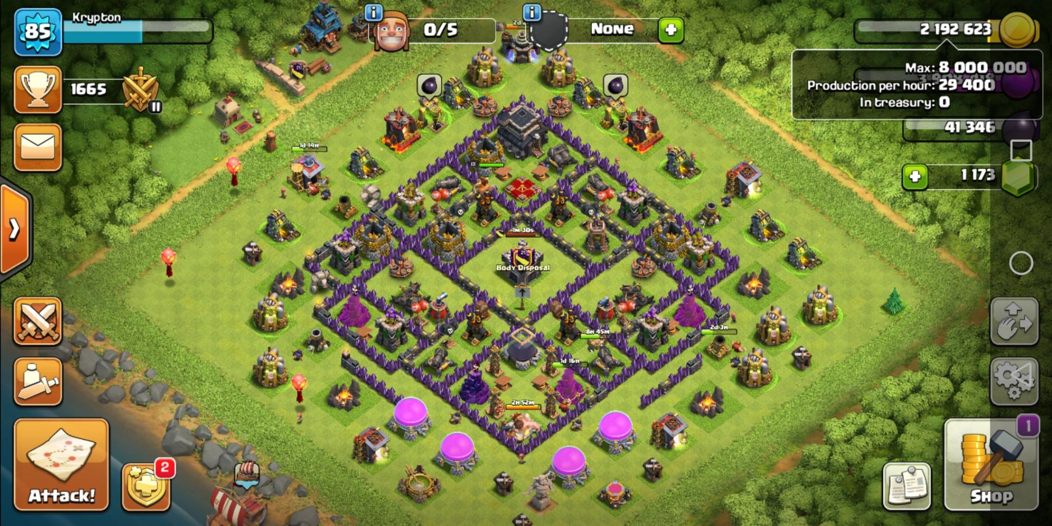 Clash of Clans trophy base for Town Hall 9